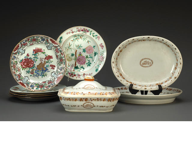 An assembled group of export porcelain dinnerware 18th and 19th century