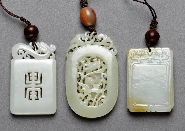 Three jade plaques