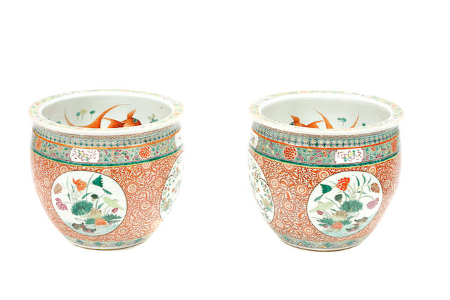 A large pair of Chinese polychrome enameled porcelain jardinieres