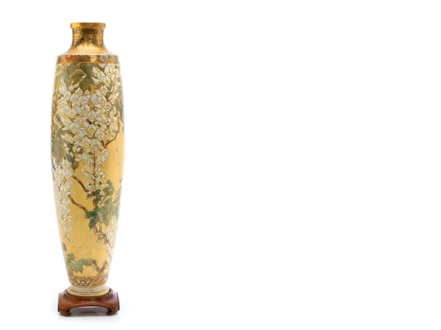 A large Japanese Satsuma earthenware vase