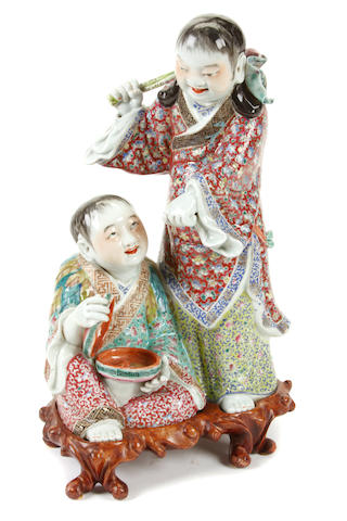 A Chinese polychrome porcelain group of the HeHe Erxian