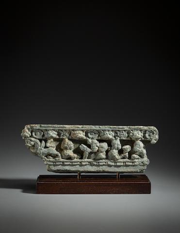 A schist architectural panel of a drinking scene Ancient Region of Gandhara, 1st century