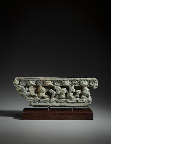 Stone panel of a drinking scen, Gandhar, 1st  century