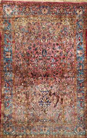 A Silk Kashan rug  Central Persia size approximately 4ft. 4in. x 6ft. 8in.