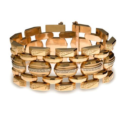 A retro eighteen karat bicolor gold bracelet,