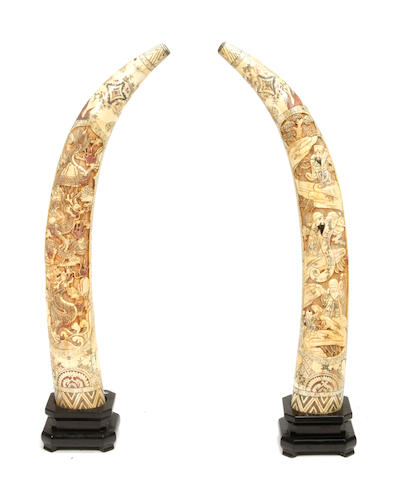 A pair of Chinese bone veneered tusk form decorations