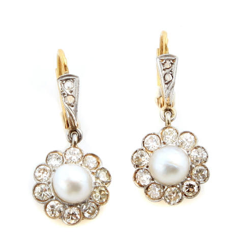 A pair of cultured pearl, diamond and 18k bicolor gold earrings