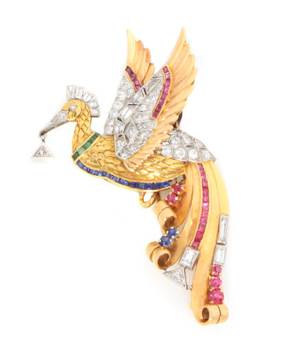 "A gem-set, diamond, gold and platinum ""pegasus"" brooch"