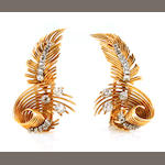 A pair of diamond and 18k bicolor gold feather earrings