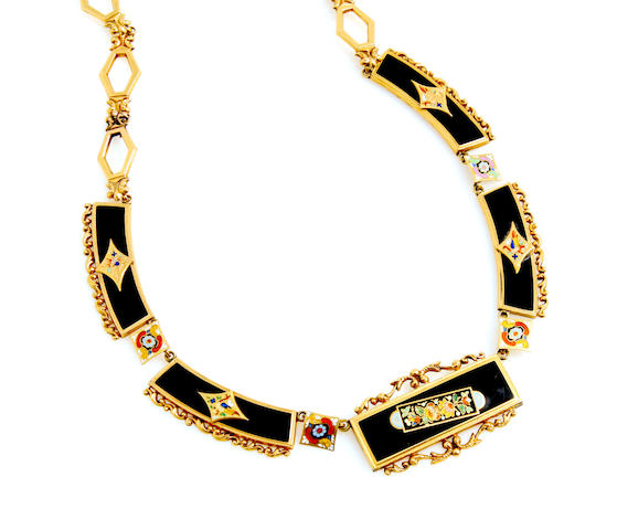 An enamel, black onyx and 18k gold necklace