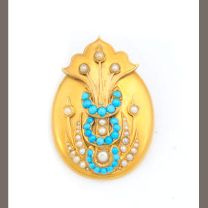 A turquoise, cultured pearl and gold brooch