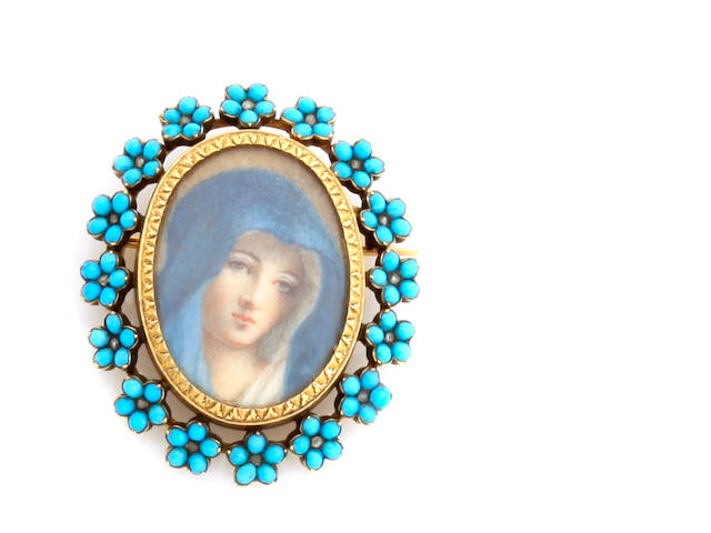 An enamel portrait, turquoise and gold brooch