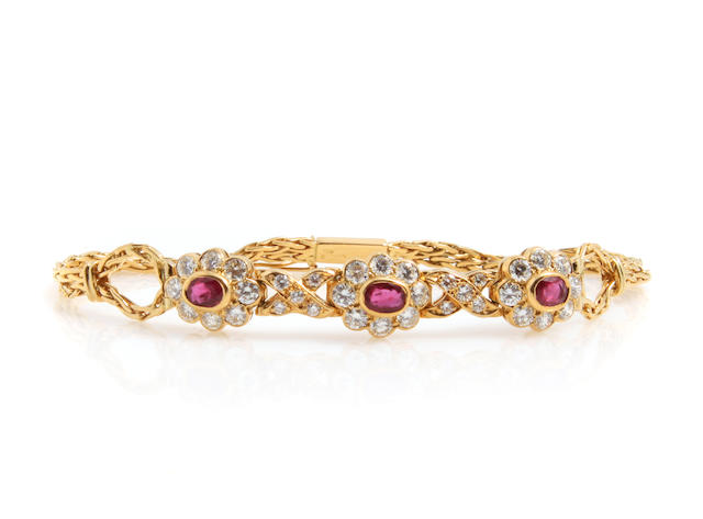 A ruby, diamond and 18k gold floral bracelet