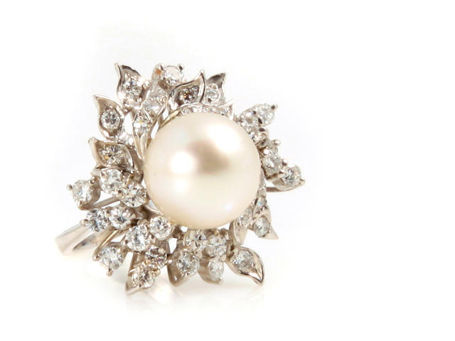 A cultured pearl, diamond and white gold cluster ring