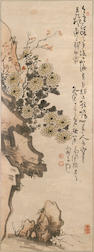 Two hanging scrolls: After Gao Fenghan Chrysanthenums and Rocks; After Ju Lian Chrysanthenums and Bamboo Fence