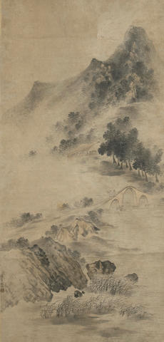 Attributed to Lu Wei (18th c) Fisherman in Landscape, hanging scroll