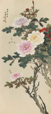 Zhang Shaoshi (1913-1991) Peonies and Bees, hanging scroll