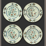 A set of four doucai-decorated porcelain plates Kangxi period