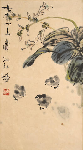 Xie Zhiguang (1900-1976) Chicks and Flowers, 1975