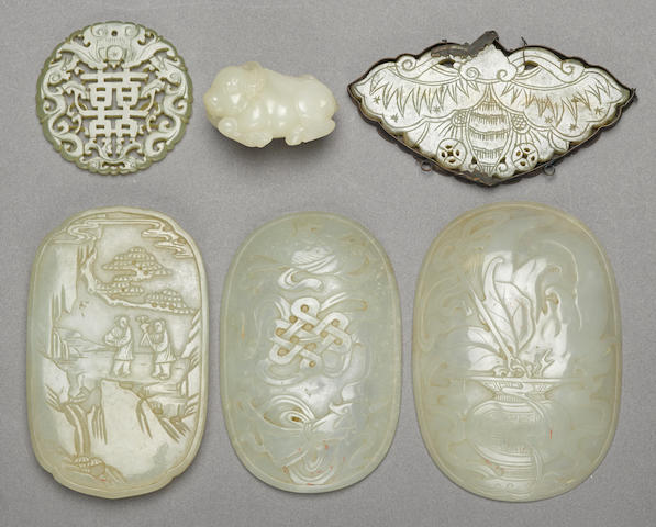 A group of six jade decorations