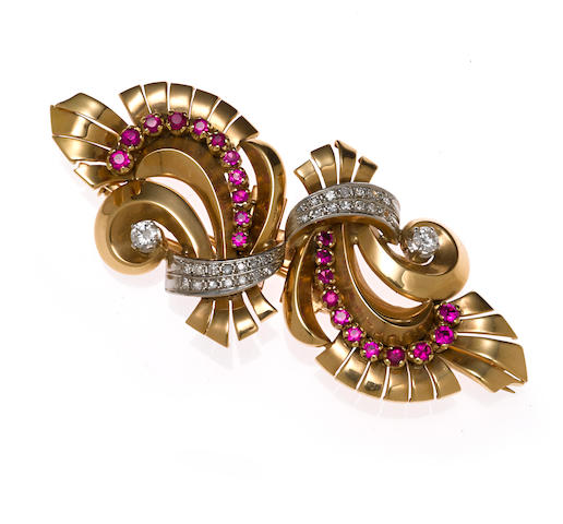 A diamond and synthetic ruby double-clip brooch