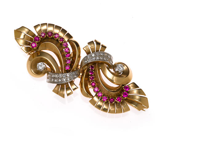 A ruby, diamond and gold double clip brooch