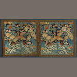 Two pairs of silk rank badges Late Qing dynasty