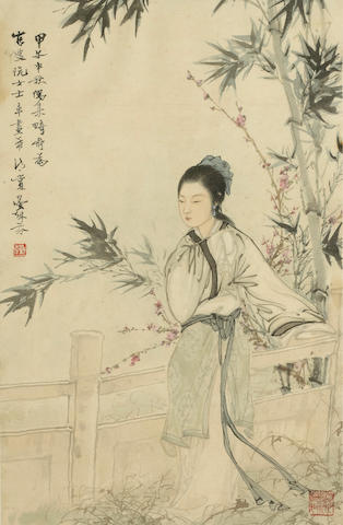 Deng Fen (1894-1964) Beauty under Bamboo, 1924