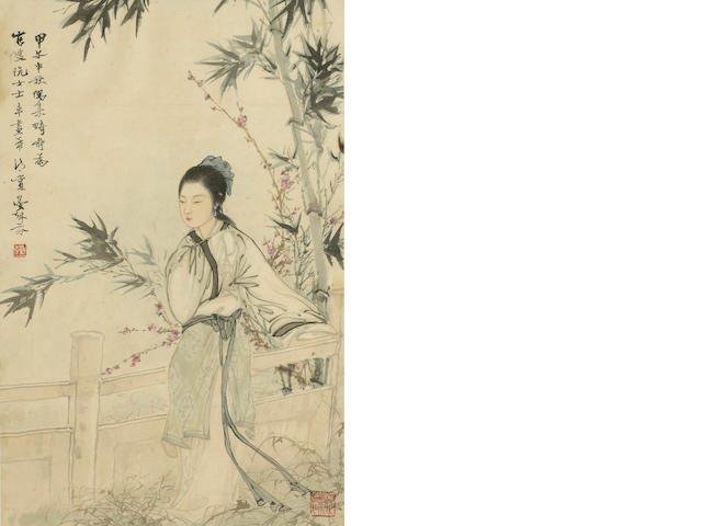 Deng Fen (1894-1964) Beauty under Bamboo, framed and glazed