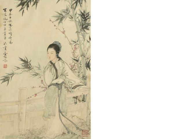 Deng Fen (1894-1964) Beauty under Bamboo, framed and glazed