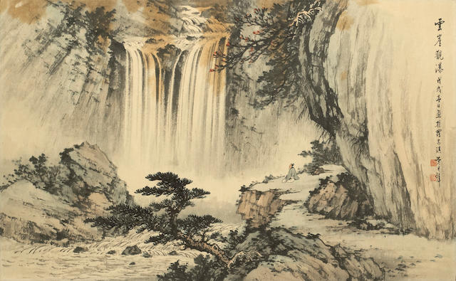 Huang Junbi (1898-1991) Waterfall Landscape, 1958