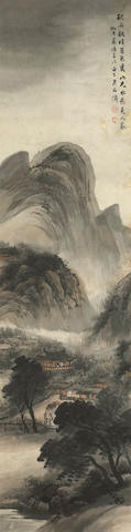 Wu Shixian (1856-1919) Landscape in Ming style, hanging scroll