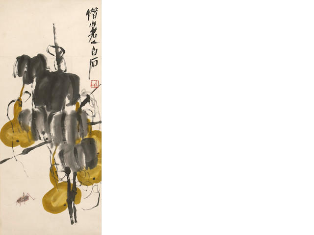 Qi Baishi (1863-1957) Yellow Gourds and Insects, hanging scroll