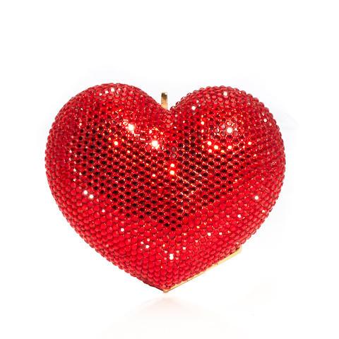 A Kathrine Baumann red crystal heart minaudière