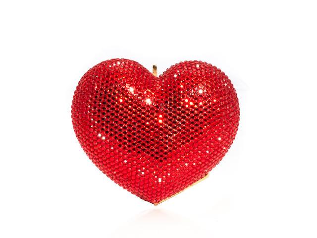 A Kathrine Baumann red crystal 'Heart' minaudière