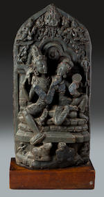 ***Cataloged by Julian-Edit*** A black stone Uma Mahesvara Northeast India Pala period, circa 11th century