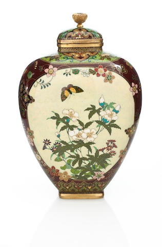 A cloisonne vase and cover By the workshop of Namikawa Yasuyuki (1845-1927), Meiji period (late 19th century)