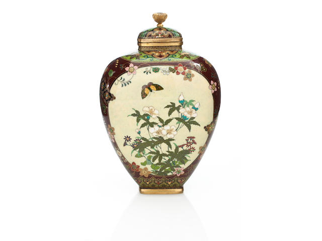 A cloisonné vase and cover By the workshop of Namikawa Yasuyuki (1845-1927), Meiji period (late 19th century)