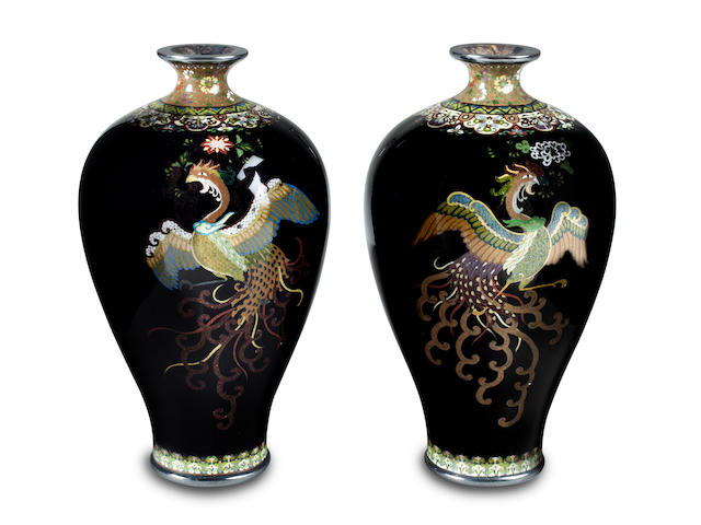 A pair of cloisonne enamel vases By the Shibata workshop, Meiji period (late 19th century)