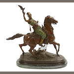 A French patinated bronze figure: Fauconnier Arabe à Cheval