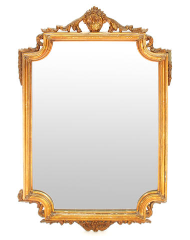 A Rococo style carved giltwood mirror
