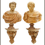 Two large Neoclassical style paint decorated models of classical busts