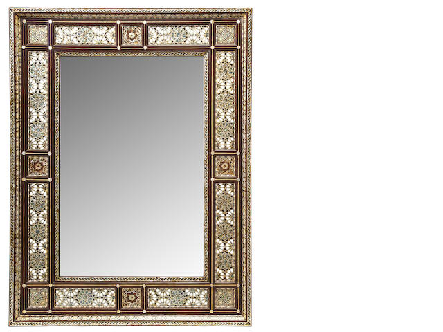 A Levantine shell, bone and mixed wood parquetry mirror