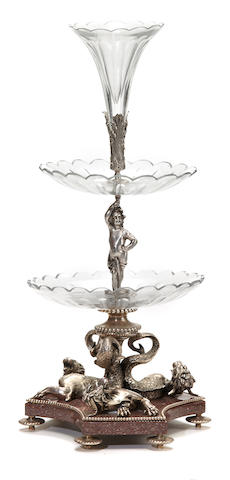 A Belle Époque style silvered metal, granite and cut glass epergne late 20th century