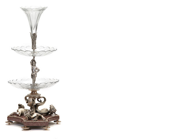 A Belle Epoque style silvered metal, granite and cut glass epergne