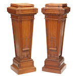 A pair of Louis XIV style oak pedestals <BR /> late 19th century