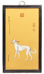 A set of ten framed Chinese porcelain plaques depicting the Emperor's dogs after Giuseppe Castiglione (Lang Shi'ing) (1688-1766)