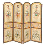 A Continental Neoclassical style paint decorated four panel floor screen <BR /> fourth quarter 19th century