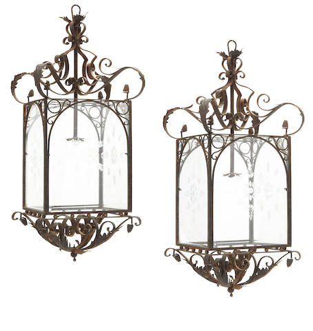 A pair of Renaissance style iron, tole and etched glass lanterns late 20th century
