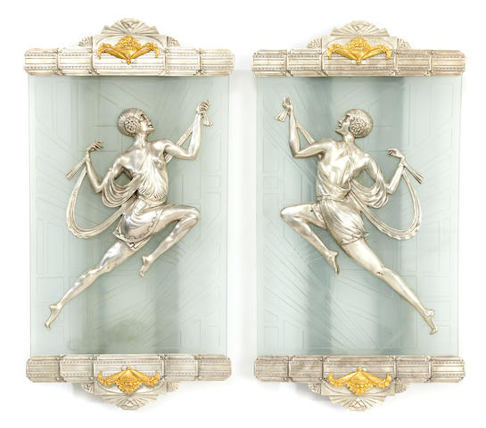 A pair of French Art Deco etched glass, silvered and gilt bronze wall lights   second quarter 20th century